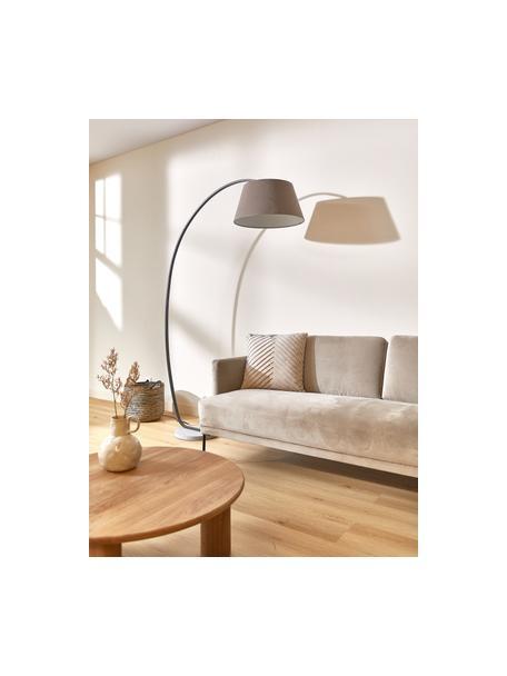 Große Bogenlampe Brok mit Antik-Finish, Lampenschirm: Flanellstoff, Lampenfuß: Metall, Sockel: Beton, Grau, 121 x 196 cm