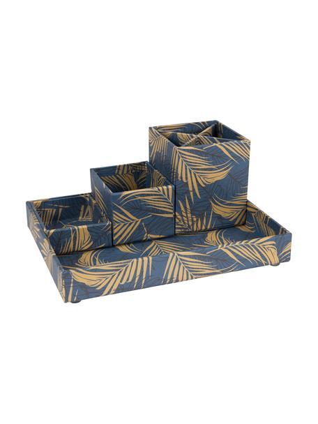 Set de organizadores de escritorio Lena, 4pzas., Cartón laminado macizo, Dorado, gris azulado, Set de diferentes tamaños
