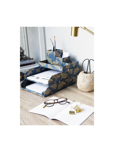 Bureau organizerset Lena, 4-delig, Massief, gelamineerd karton, Goudkleurig, grijsblauw, Set met verschillende formaten