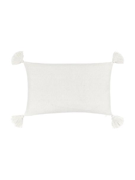 Kissenhülle Lori in Cremeweiß mit dekorativen Quasten, 100% Baumwolle, Weiß, 30 x 50 cm