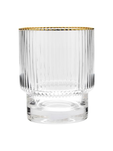 Vasos con relieve Minna, 4uds., Vidrio, Transparente, dorado, Ø 8 x Al 10 cm