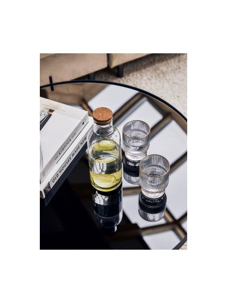 Bicchiere acqua con rilievo e bordo dorato Minna 4 pz, Vetro, Trasparente, dorato, Ø 8 x Alt. 10 cm