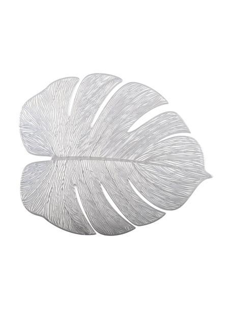Placemats Leaf in bladvorm, 2 stuks, Kunstvezels, Zilverkleurig, 40 x 33 cm