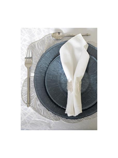 Kunststoff-Tischsets Leaf in Silber, 2 Stück, Kunstfaser, Silberfarben, 40 x 33 cm