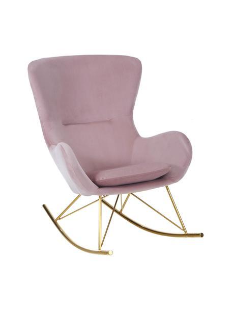 Fluwelen schommelstoel Wing in roze met metalen poten, Bekleding: fluweel (polyester), Frame: gegalvaniseerd metaal, Fluweel roze, goudkleurig, B 76 x D 108 cm