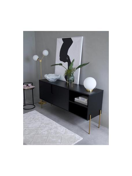 Sideboard Jesper mit Türen in Schwarz, Korpus: Mitteldichte Holzfaserpla, Korpus: Schwarz Füsse: Goldfarben, glänzend, 160 x 80 cm