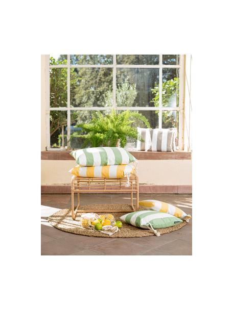 Gestreifte Outdoor-Kissenhülle Santorin in Gelb/Weiss, 100% Polypropylen, Teflon® beschichtet, Gelb, Weiss, 40 x 60 cm