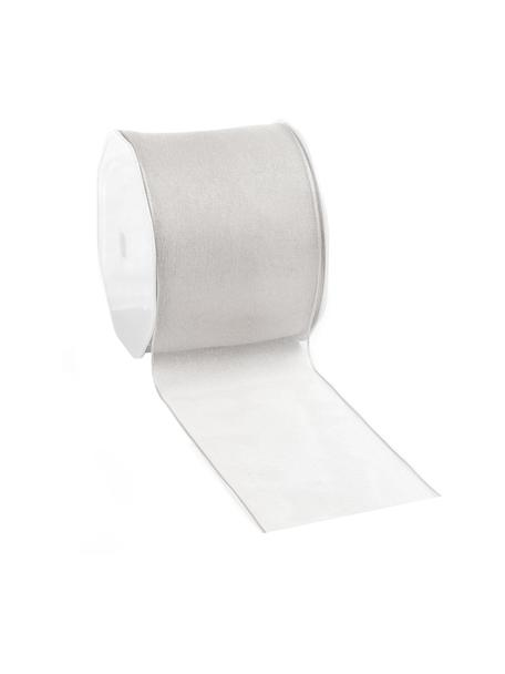 Cadeaulint Anzo met draadversterking, 98% nylon, 2% vernikkeld draad, Edelstaalkleurig, 7 x 2000 cm