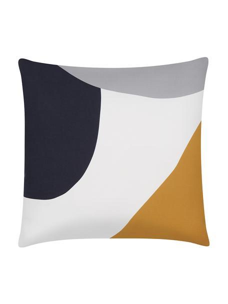 Kissenhülle Linn mit geometrischen Formen, Webart: Panama, Weiß, Dunkelblau, Grau, Orange, 40 x 40 cm