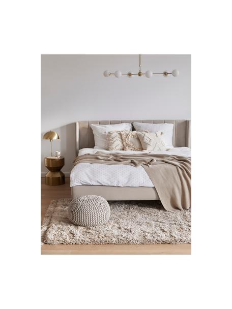 Zacht hoogpolig vloerkleed Dreamy met franjes, Bovenzijde: 100% polyester, Onderzijde: 100% katoen, Crèmekleurig, B 120 x L 180 cm (maat S)