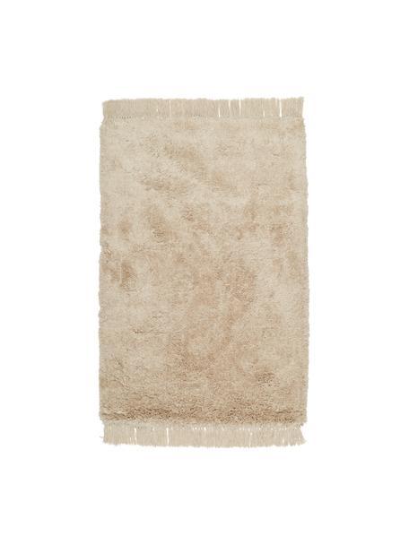 Flauschiger Hochflor-Teppich Dreamy mit Fransen, 100% Polyester, recycelt, Creme, B 120 x L 180 cm (Größe S)