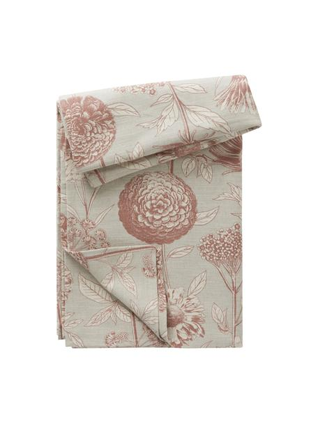Tovaglia con motivo floreale Freya, 86% cotone, 14% lino, Beige, rosso, Per 4-6 persone (Larg.145 x Lung. 200 cm)