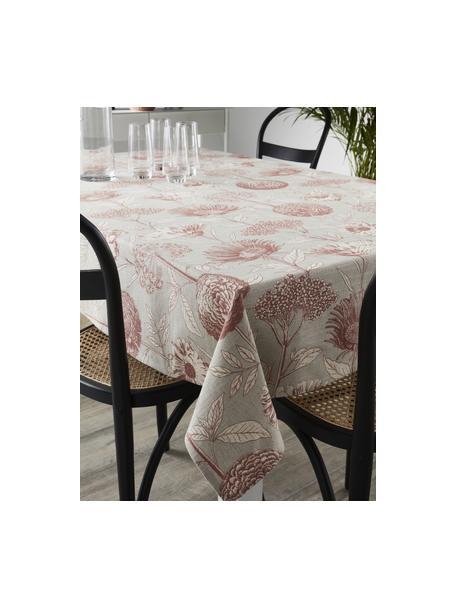 Mantel de algodón Freya, 86%algodón, 14%lino, Beige, rojo, De 4 a 6 comensales (An 145 x L 200 cm)