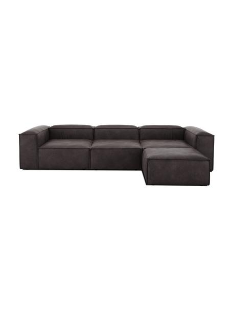 Sofa modułowa ze skóry z recyklingu z pufem Lennon (4-osobowa), Tapicerka: skóra pochodząca z recykl, Stelaż: lite drewno sosnowe, skle, Nogi: tworzywo sztuczne Nogi zn, Szarobrązowy, S 327 x G 207 cm