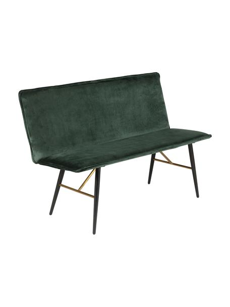 Ławka z aksamitu Verona, Tapicerka: aksamit poliestrowy Dzięk, Zielony, czarny, S 134 x G 55 cm