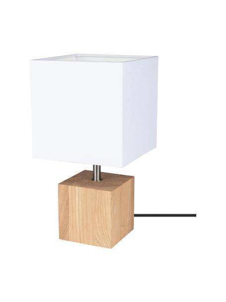 Lámpara de mesa pequeña de roble Trongo, Pantalla: tela, Cable: plástico, Beige, blanco, An 15 x Al 30 cm