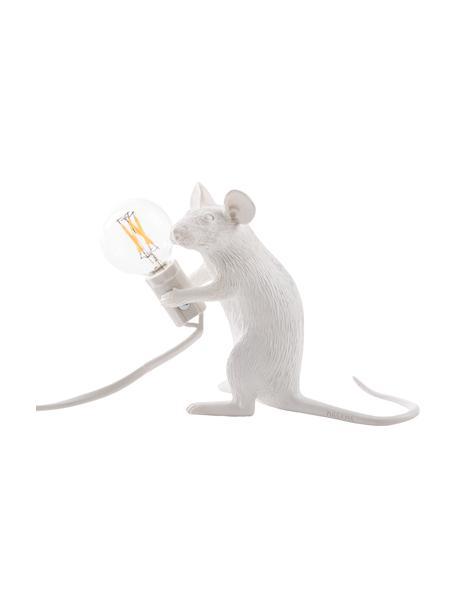 Kleine Design Tischlampe Mouse, Weiss, 5 x 13 cm