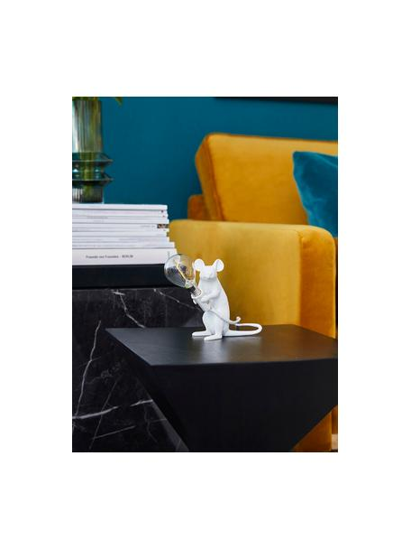 Kleine Design Tischlampe Mouse, Weiß, 5 x 13 cm