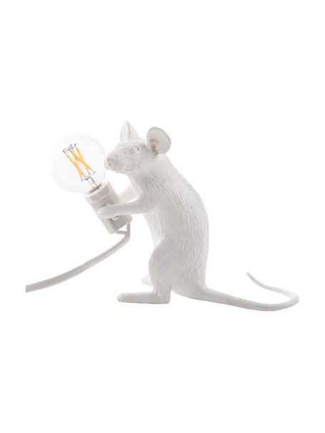 Kleine design tafellamp Mouse, Lamp: kunsthars, Wit, 5 x 13 cm