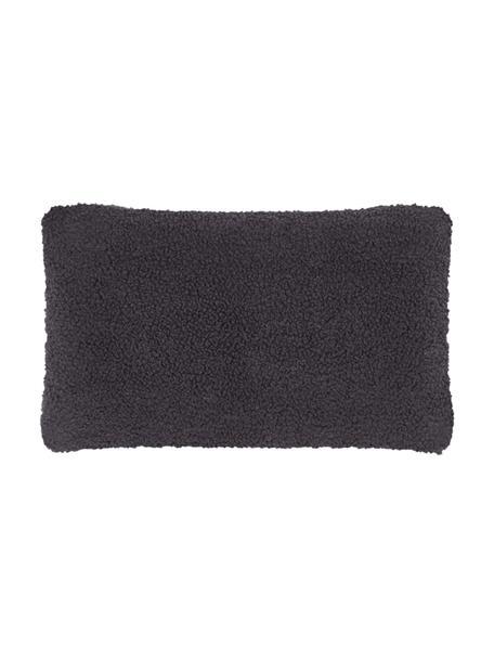Flauschige Teddy-Kissenhülle Mille in Dunkelgrau, Vorderseite: 100% Polyester (Teddyfell, Rückseite: 100% Polyester (Teddyfell, Dunkelgrau, 30 x 50 cm