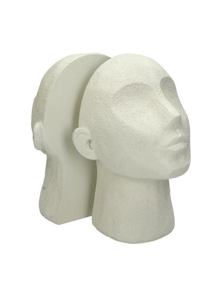 Sujetalibros Head, 2uds., Poliresina, Blanco crema, An 23 x Al 32 cm
