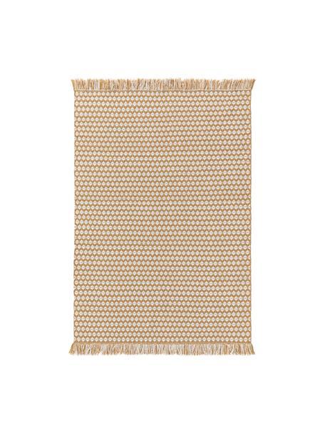 Tappeto da interno-esterno con frange Morty, 100% poliestere (PET riciclato), Giallo, bianco latteo, Larg. 80 x Lung. 150 cm (taglia XS)