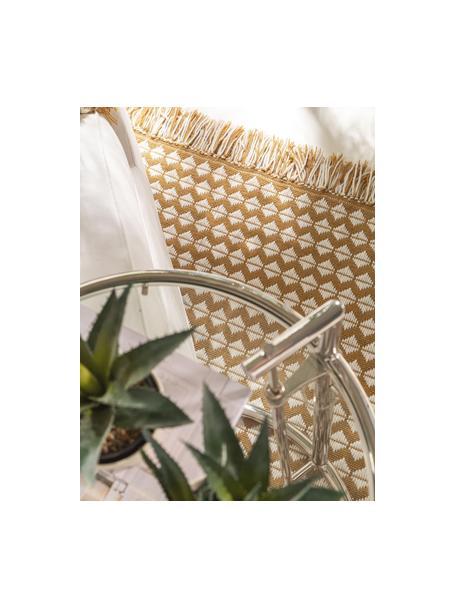 Tappeto etnico da interno-esterno con frange Morty, 100% poliestere (PET riciclato), Giallo, bianco latteo, Larg. 80 x Lung. 150 cm (taglia XS)
