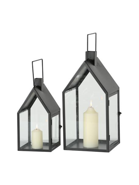 Set 2 lanterne Nuovo, Struttura: metallo rivestito, Nero, trasparente, Set in varie misure