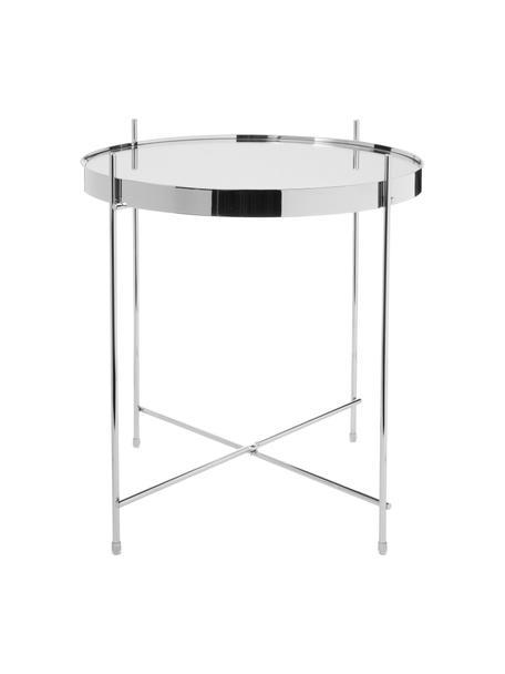Mesa auxiliar Cupid, tablero de cristal, Estructura: hierro, cromado, Tablero: vidrio laminado, Plata, Ø 43 x Al 45 cm