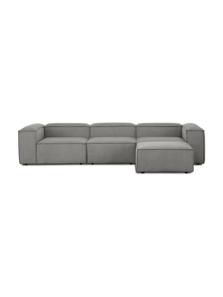 Modulares Sofa Lennon (4-Sitzer) mit Hocker in Grau aus Cord, Bezug: Cord (92% Polyester, 8% P, Gestell: Massives Kiefernholz, Spe, Füße: Kunststoff Die Füße befin, Cord Grau, B 327 x T 207 cm