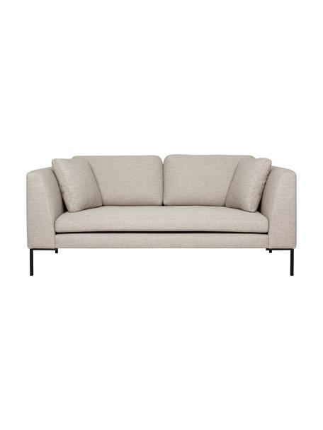 Sofa Emma (2-Sitzer) in Beige mit Metall-Füssen, Bezug: Polyester 100.000 Scheuer, Gestell: Massives Kiefernholz, Webstoff Beige, Füsse Schwarz, B 194 x T 100 cm