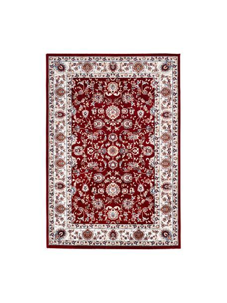 Tappeto rosso in stile orientale Isfahan, 100% poliestere, Rosso, multicolore, Larg. 80 x Lung. 150 cm (taglia XS)