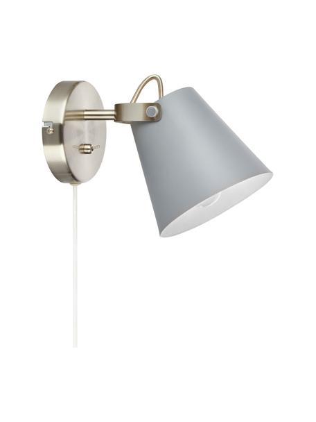 Wandlamp Tribe met stekker, Lampenkap: gepoedercoat staal, Frame: geborsteld staal, Grijs, 14 x 20 cm
