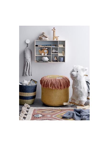 Schommeldier Lama, Polyester, populierenhout, Wit, bruin, 65 x 70 cm