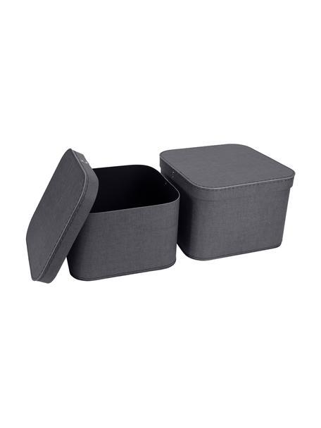 Komplet pudełek do przechowywania Ludvig, 2 elem., Tektura laminowana, Antracytowy, Komplet z różnymi rozmiarami