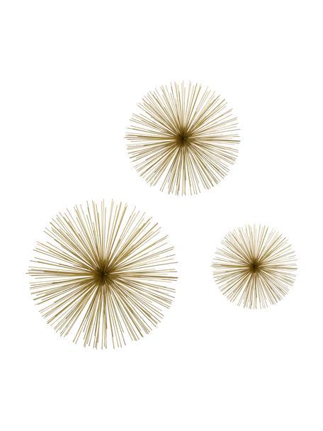 Wandobjectenset Spike van metaal, 3-delig, Metaal, Goudkleurig, Set met verschillende formaten