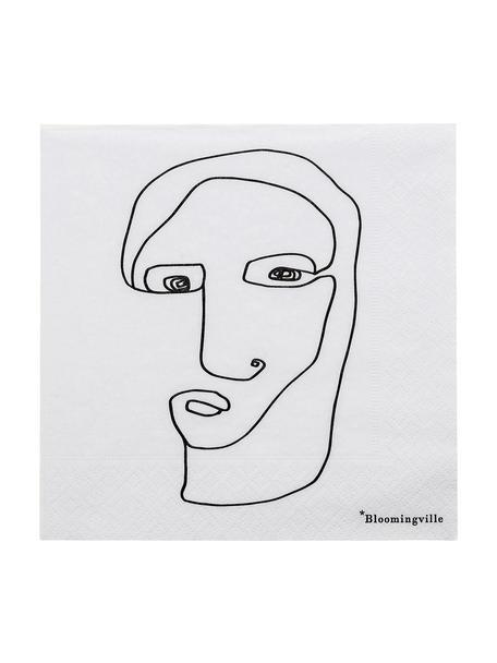 Papieren servetten Visage, 20 stuks, Papier, Wit, zwart, 33 x 33 cm