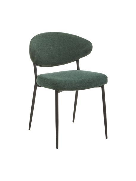 Gestoffeerde stoelen Adele in donkergroen, 2 stuks, Frame: gepoedercoat metaal, Geweven stof groen, 54 x 57 cm