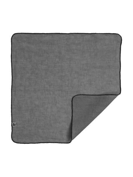 Linnen servetten Gracie in grijs, 2 stuks, 100% linnen, Grijs, 45 x 45 cm