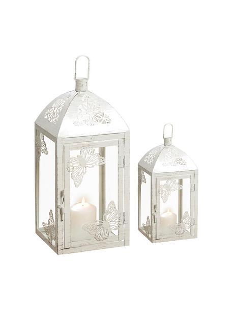 Komplet latarenek Peer, 2 elem., Metal malowany proszkowo, szkło, Biały, antyczne wykończenie, Komplet z różnymi rozmiarami