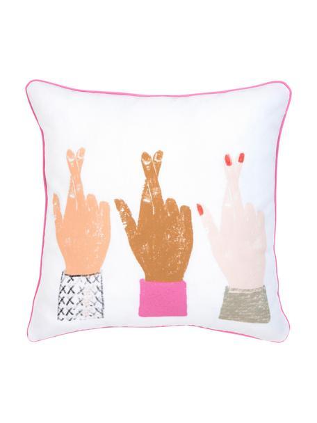 Designer Kissenhülle Hands von Kera Till, 100% Baumwolle, Weiss, Mehrfarbig, 40 x 40 cm