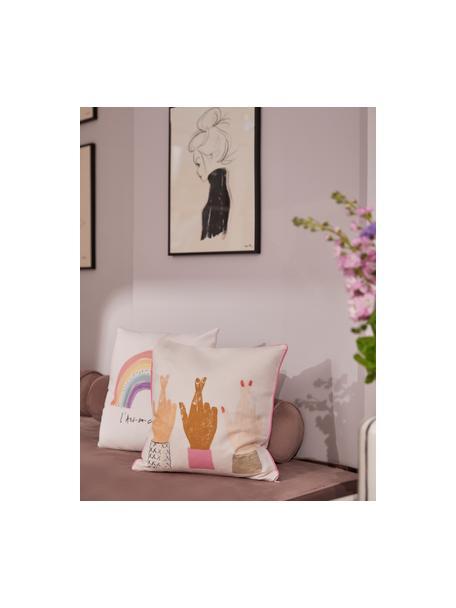 Design kussenhoes Hands van Kera Till, 100% katoen, Wit, multicolour, 40 x 40 cm