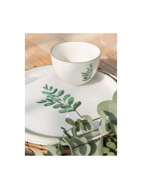 Cuencos Eukalyptus, 6uds., Porcelana New Bone China, Blanco, verde, Ø 12 cm