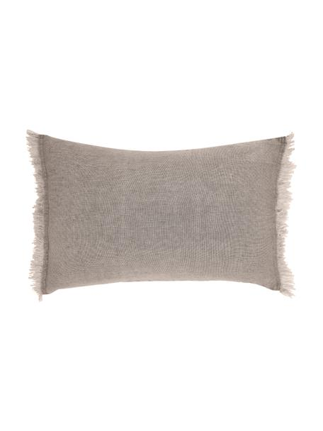 Linnen-kussen Levelin met franjes, met vulling, Beige, 40 x 60 cm