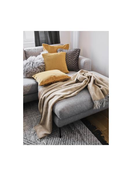 Funda de cojín de punto de algodón ecológico Adalyn, 100%algodón ecológico, certificado GOTS, Amarillo, An 40 x L 40 cm