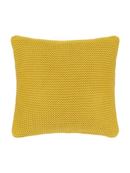 Federa arredo a maglia in cotone biologico giallo senape Adalyn, 100% cotone biologico, certificato GOTS, Giallo senape, Larg. 40 x Lung. 40 cm