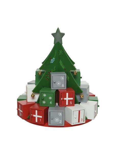 Adventskalender Tree, Gecoat hout, Groen, rood, wit, grijs, Ø 26 x H 29 cm