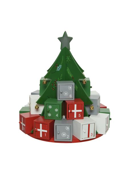 Calendario de adviento Tree, Tablero de fibras de densidad media recubierto, Verde, rojo, blanco, gris, Ø 26 x Al 29 cm