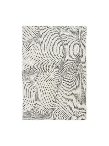 Großer handgewebter Wollteppich Waverly mit Wellenmuster, 100% Wolle  Bei Wollteppichen können sich in den ersten Wochen der Nutzung Fasern lösen, dies reduziert sich durch den täglichen Gebrauch und die Flusenbildung geht zurück., Weiß, Schwarz, B 200 x L 300 cm (Größe L)