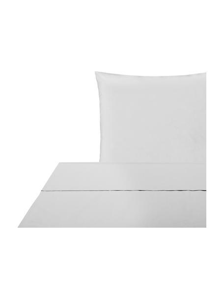 Set lenzuola in percalle grigio chiaro Elsie, Grigio chiaro, 150 x 300 cm + 1 federa 50 x 80 cm